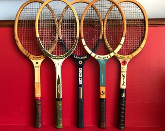 Vintage Wood Tennis Racquets Mid Century Wood Tennis Rackets   Doris Hart Pancho Gonzales Spalding and Slazenger Classic Tennis Rackets