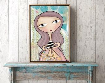 """Whimsical Mixed Media 8 x 10 Print - """"Zoe"""""""