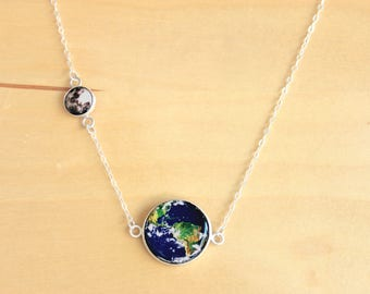 Earth & Moon Necklace Silver Pendant Science Jewelry Planet Necklace