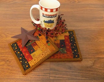 Mug Rug/Mug Mat/Cup Cuddler/Primitive Decor/Country Decor/Farmhouse Decor/Log Cabin/Handmade/Quilted/ Item #250