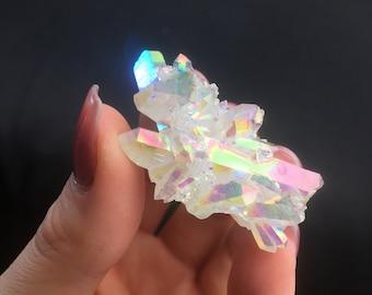 Angel Aura Clear Quartz Crystal Cluster