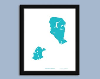 Manitou Islands map, Manitou Islands city art map, Manitou Islands wall art poster, Manitou Islands decorative map