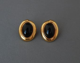 Vintage MONET Black and Gold Clip Earrings, Oval Cabochon Black and Gold Clip-Ons, Chic Elegant Black Clip-Ons, Estate Jewelry