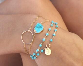 Boho Chic Turquoise slice bracelet, 14k Gold filled double chain bracelet, 24k gold Electroplated Edge gemstone, beach wedding, bridesmaids