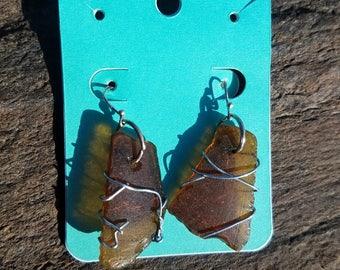 Brown Maine Seaglass Earrings
