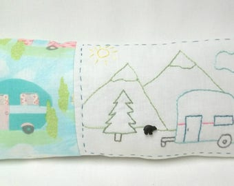 RV Camper Embroidery Mini Pillow Mountain Vacation Shelf Pillow