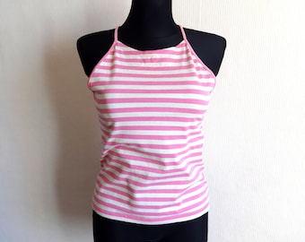 Marimekko Spaghetti Strap Top Pink & White Horizontal Striped Top Nautical Women's Top  Marimekko Designs Cotton Jersey Size M