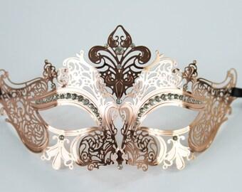 Classic Rose Gold Masquerade Mask Venetian Inspired , Mardi Gras, Wedding. K2001RG