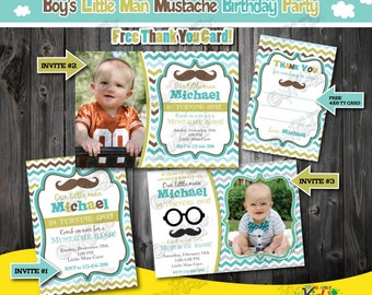 Little Man Birthday Party invitation-Mustache Birthday Party-mustache First Birthday-1st Birthday invitation-Mustache party-Little man party