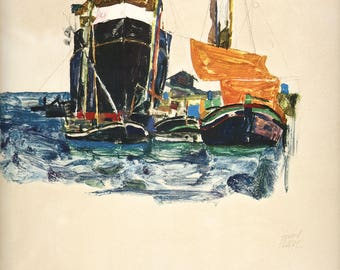 "Schiele Egon, 26, Lithograph, ""Boats at Trieste"" printed 1968"