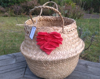 Thai basket mothers day, heart red linen, the hearty