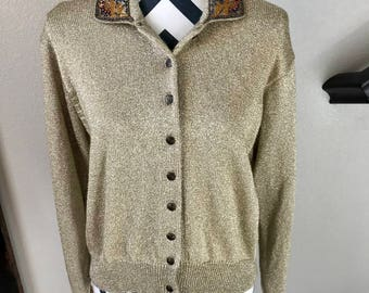 Vintage 1990s Beaded Detail Gold Beige Preppy Button Up Cardigan Sweater Sz L