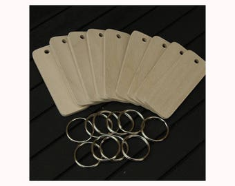 Pyrography Birch plywood rectangular key fob blanks with nickel key rings pack of 10