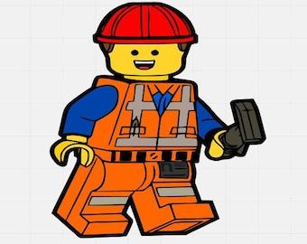 Emmet Lego man, Lego Movie Svg, Svg Cut File, Svg Cutting File, Svg For Silhouette, Svg For Cricut, Svg Cut File,