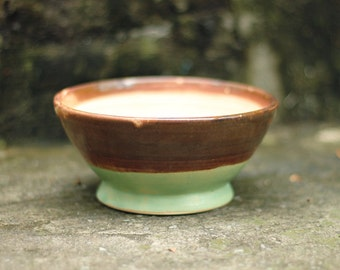 Medium Mint Green Bowl with Brown
