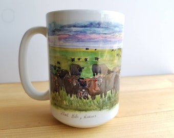 Cows at the Flint Hills 15 oz Photo Mug from my original Ink and watercolor sketch. Enjoy your favorite drink on this special mug.