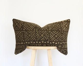 RARE** African Black Mudcloth Lumbar Pillow Cover, mud cloth, boho, vintage, pillow, gift for her, nursery pillow, crib pillow, 16 x 26