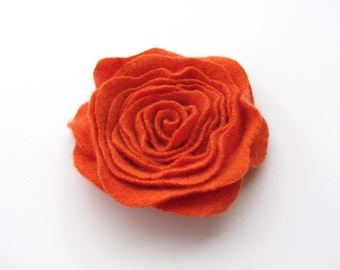 Rose Pin Orange Cashmere Felted Wool Rose Brooch Flower Pin