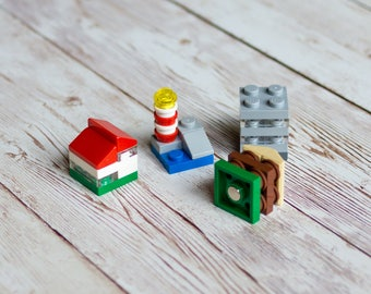 Set of 4 upcycled Lego® fridge magnets, city / town themed building block - random blind packed