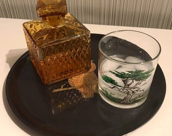 Handsome 1950s/1960s Amber Glass Liquor Decanter   Very Old School Cool  Barware!