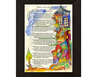 Tumbling houses  -original watercolour and ink illustration of poem Aux Italiens part 1