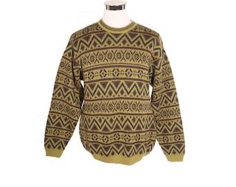 Jumaka b Gandolfi vintage geometric print pullover ultra soft & warm alpaca wool blend sweater , Made in Italy