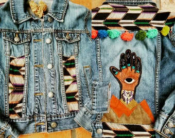 Lawless Revolution Handmade, Re Purposed Denim Jacket with Magic Hand/Hamsa/ Bohemian Chic/ Psychedelic Shaman Chic/ Unique Gifts