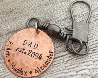 Personalized Keychain for Dad - Gift for Daddy - Fishing Keychain - Gift for Outdoor Enthusiasts - Dad Est - to dad from son