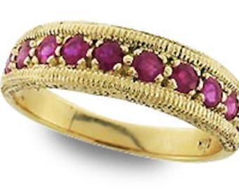 Gold Ruby Ring, Vintage Ruby Ring, 9ct 9k Antique Ruby Ring, Various Gems Avail + 14k 18k Rose White Gold, Custom R212
