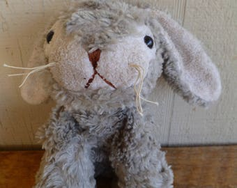 "Vintage Plush Rabbit Bunny Gray ""It's All Greek To Me"""