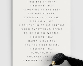 I Believe in Pink. Audrey Hepburn Quote Print - PRINTABLE FILE. Girls Room Décor. Motivational Quote. Inspirational Quote. Uplifting Quote.