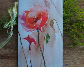 Flower,Fine Art Card,Big Greeting Card With Envelope ,Watercolor Painting Art Card