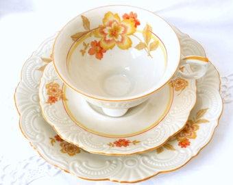 richly embossed tea cup trio orange tea cups and saucers teacup trio set orange tea cup german tea cups shabby chic Oscar Schaller 129