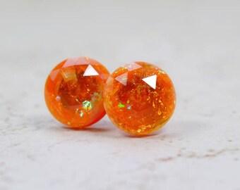 Orange Fire Opal Earrings, 12mm Faux Opal Posts, Glittering Sparkly Stainless Steel Studs