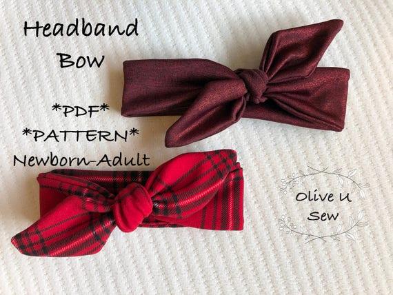 Knot Headband Pdf Pattern Newborn Adult Bow Head Band