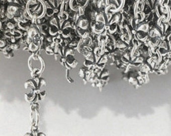 925 Sterling Silver Chain Fluer De Lis Chain 5x10MM By Foot #407597