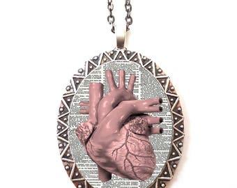 Anatomical Heart Necklace Pendant Silver Tone - Anatomy Medical Oddity Medicine Cardiology