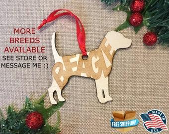 Beagle Christmas Ornament *** Dog Christmas Ornament *** Dog Breed Ornament  ***Dog Lover Gift *** Christmas Holiday Ornament ***