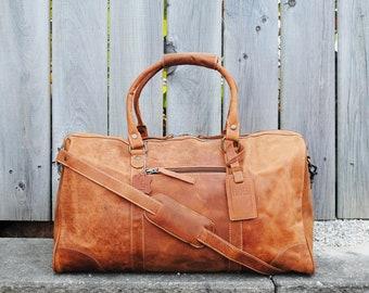 Full Grain Leather Travel Bag, Distressed Leather Duffle Bag, Leather Sports Bag, Gym Bag, Cabin Travel Bag, Weekender Bag, Overnight Bag
