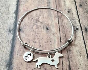 Dachshund initial bangle - dachshund jewelry, doxie bangle, weenie dog jewelry, dachshund bracelet, doxie bracelet, weiner dog jewelry