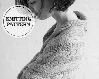 KNITTING PATTERN Knitted Shrug, knitted cocoon, knitted cardigan, knitted bolero, PDF knitting pattern, chunky cardigan