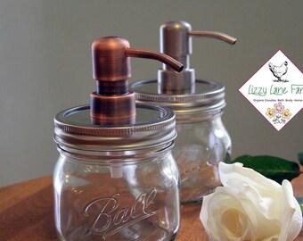 Distributeur de savon rouille preuve Mason Jar | Boule Elite | En métal brossé-pompe Bronze/brossé argent de savon | Ferme moderne maison Decor | Pot de 1 pinte