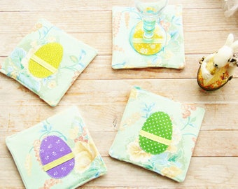 Coasters mug rug coffee tee drink coaster hot pad Easter egg set of 4 green violet yellow floral cotton ribbon housewarming hostess gift