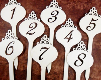 "Wedding Table Number Signs Laser Cut Wood DIY Decoration 9"" - Numbers 1-15"