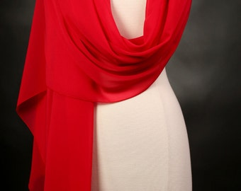 Orange Red Chiffon Scarf Womens, Handmade, Polyester, Long, Solid Color Scarf Red Christmas Scarf, Womens Gifts