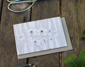 Cymbidium - Botanical Greeting Card - Colour Your Own!