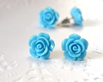blue flower romantic jewelry rose jewelry bridesmaid gift for wife spring flowers earrings stud earrings small flower rose bridesmaid gift
