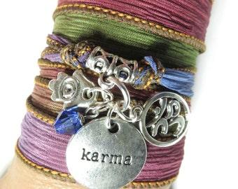 Spiritual Karma Om Silk Wrap Bracelet Yoga Jewelry Bohemian Jewelry Hamsa Wrap Bracelet Christmas Stocking Stuffer Birthday Unique Gift