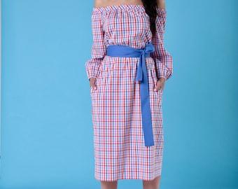 Of the shoulder cotton dress