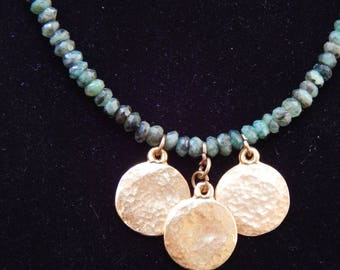Rough Emerald and Gold Necklace OOAK